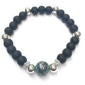 Jewelry - Black Silver and Blue Beaded Stretch Bracelet